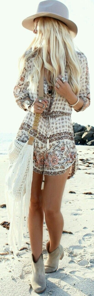 bag white crotchet boho romper dress