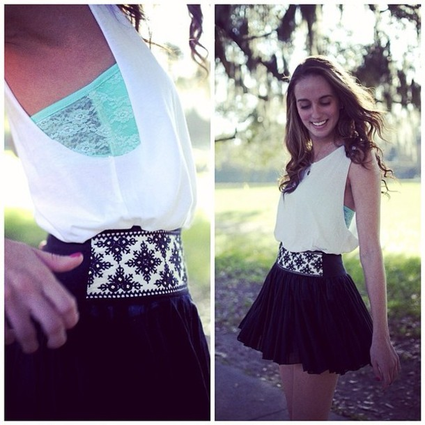 dress black white black and white mint skirt blouse bandeau mint green bandeau white blouse black skirt