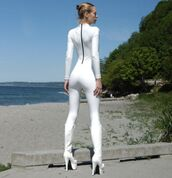 jumpsuit,white catsuit,latex,latex catsuit,white boots,all white everything