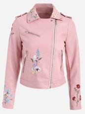 jacket,embroidered,girly,pink,embellished jacket,leather,leather jacket,biker jacket