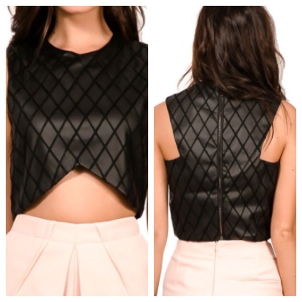 top pleather top crop tops black fashion
