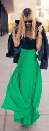 skirt,maxi skirt,long skirt,green,pleated skirt