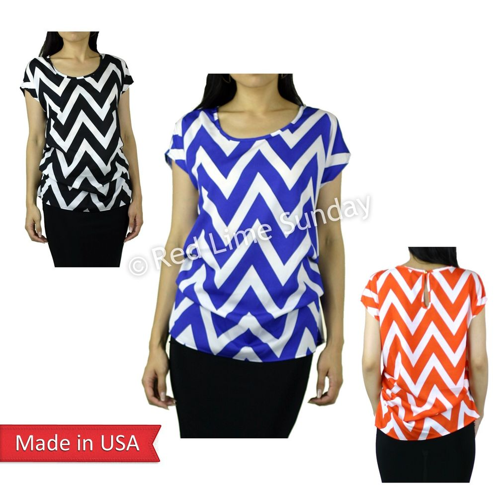 Dolman Chevron Zigzag Stripe Print Color Keyhole Back Summer Blouse Top Shirt