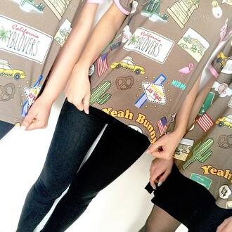 t-shirt yeah bunny american flag america new york city florida cactus california american dream