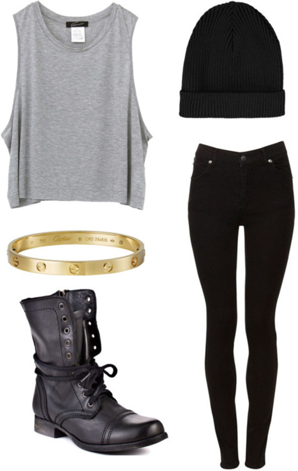 shoes cartier bracelet beanie skinny pants tank top jewels jeans shirt