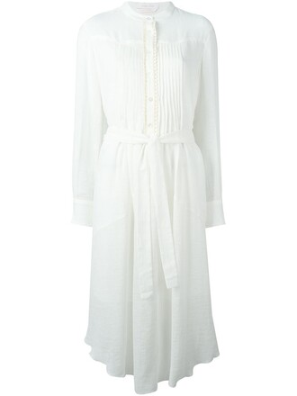 dress belted dress white
