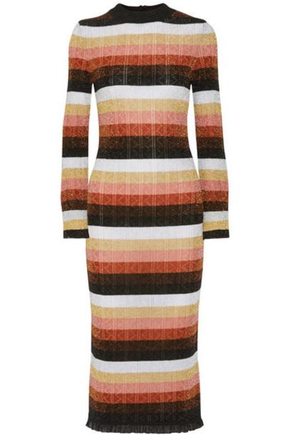 dress midi dress metallic midi wool orange