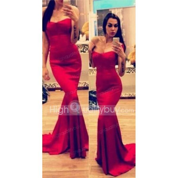 Long Red Strapless Dresses