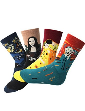 H2H Womens 1 or 4 Pairs Fashion Cotton Crew Socks With Famous Collection Painting SET4 M(KWMS027) at Amazon Women's Clothing store: