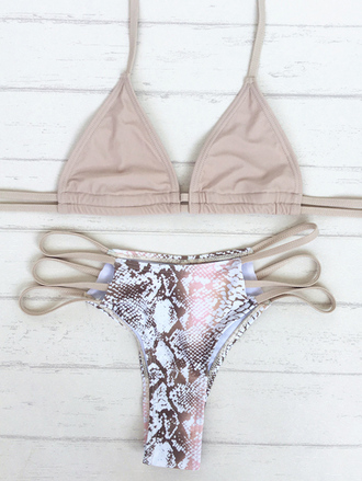 swimwear bikini summer beach snake print trendy pink sexy zaful