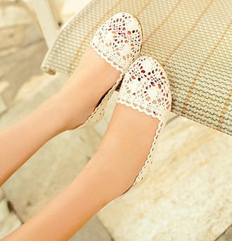 shoes flat lace white hopllow