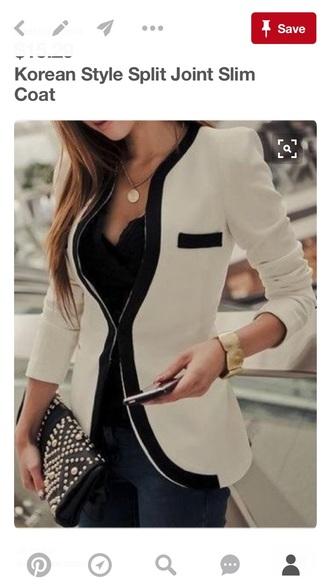 jacket blazer cream black slimmed style fashion vibe