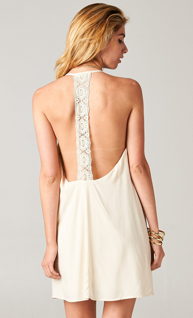 Off-white Party Dress - Ivory Crochet Backless Dress | UsTrendy