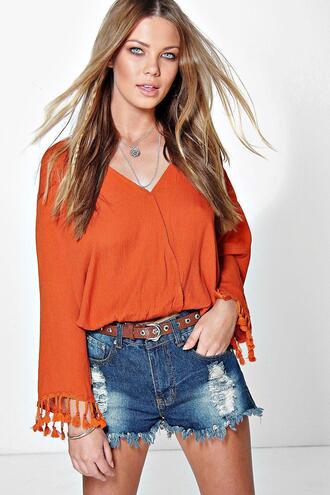 blouse boohoo orange blouse boohoo black blouse orange blouse black blouse tassle top boohoo tassle blouse tassle blouse boohoo tassle top