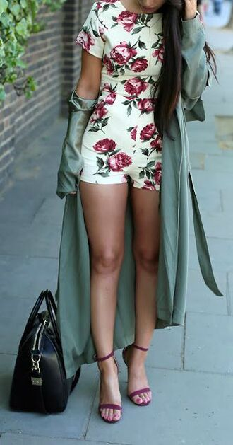 romper floral floral romper spring outfits roses maxi cardigan lightweight maxi cardigan green coat shoes strappy sandals sandals