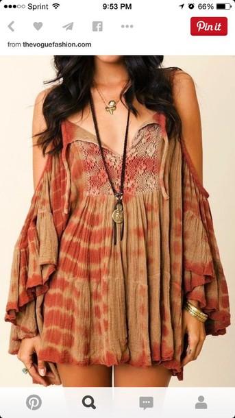 dress hippy dress brown dress hippie