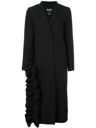 coat ruffle women spandex black