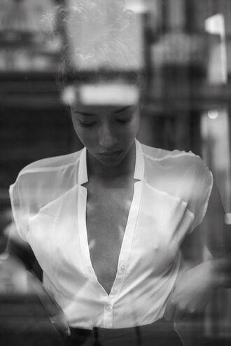 blouse plunge blouse top v neck plunge v neck mesh buttons white white blouse
