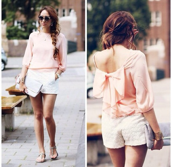 backless pink girly blouse chic top bows pastel pink shirt cute