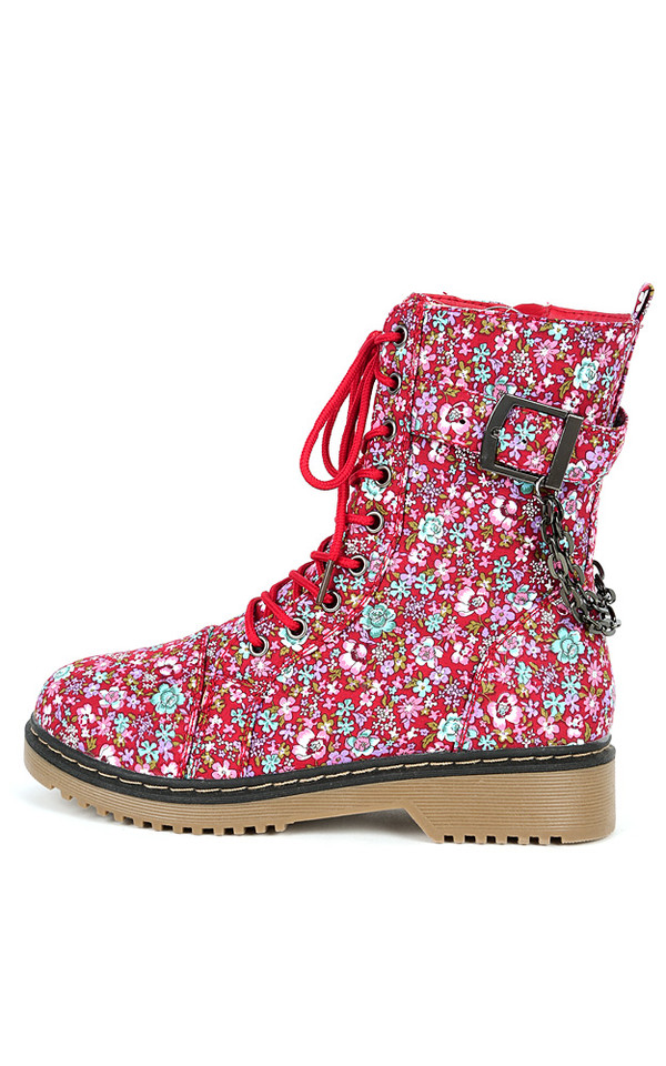 shoes boots combat boots red floral chain