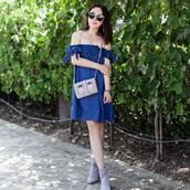 dress,tumblr,off the shoulder,off the shoulder dress,denim,denim dress,mini dress,bag,shoulder bag,boots,ankle boots,sunglasses,shoes