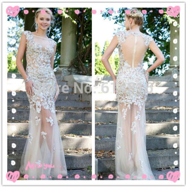 prom dress jovani prom dress see through dress lace appliques dress