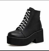 shoes,black,boots,white,punk,platform shoes,heel boots,black heels,dark,grunge