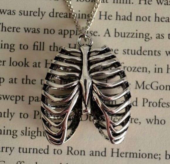 bones skeleton jewels necklace ribs goth torso body silver metal goth grunge jewelry