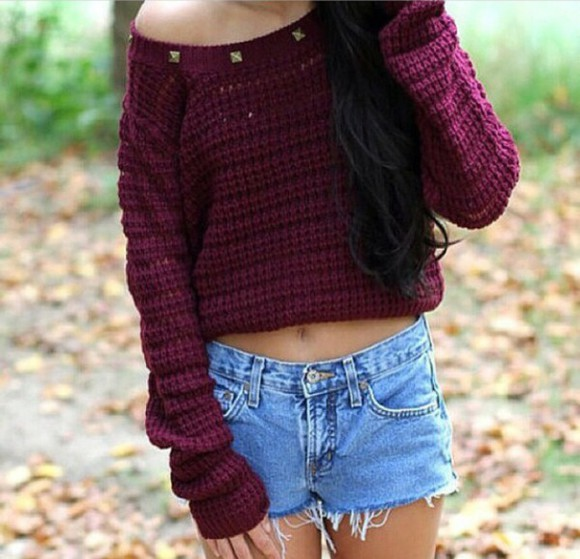 High waisted shorts burgundy gold studs studded shirt studded sweater burgandy sweater burgandy shirt burgundy sweater maroon shirt cropped sweater