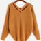 Khaki v neck criss cross back sweater -shein(sheinside)