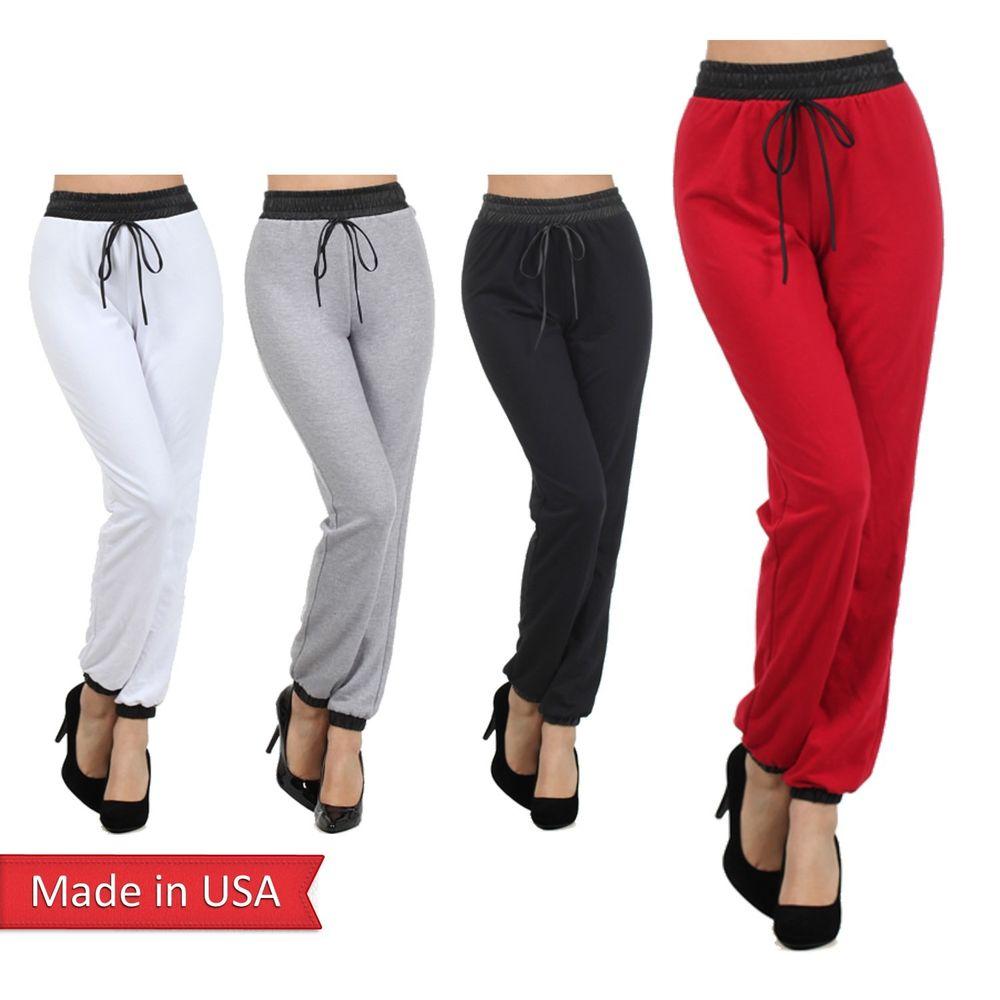Cotton Blend Faux Leather Waistband Drawstring Jogger Jogging Pants Bottom USA