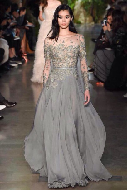 dress elie saab grey dress prom dress embroidered