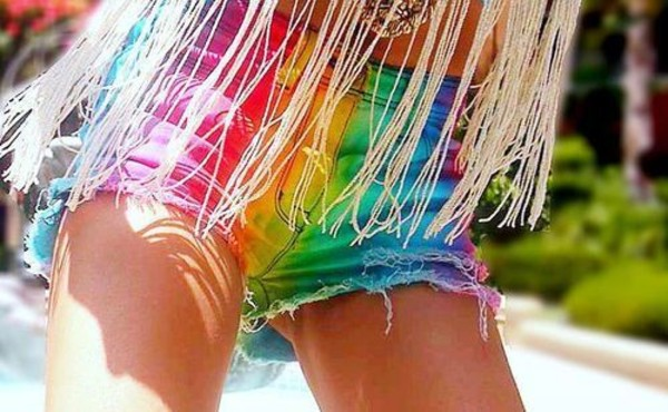 shorts rainbow shorts colorful cute girly