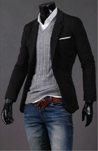 sweater cardigan cable knit grey mens