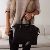 coat,sweater,jewels,faux fur vest,pants,bag,givenchy,jacket,fur,beige,watch,gold,black,fell,black bag,black purse