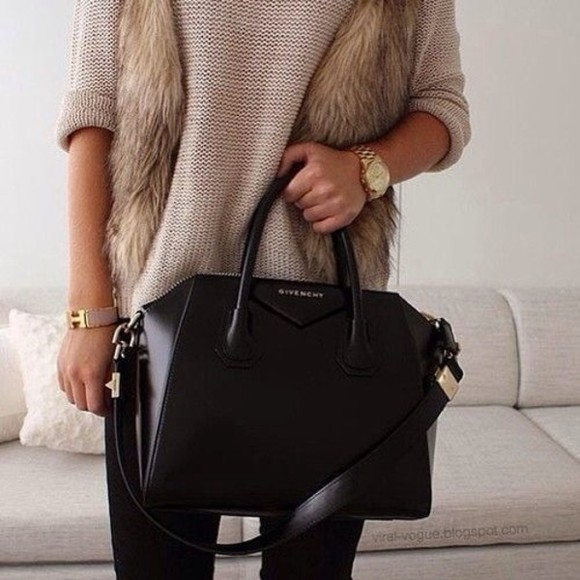 bag black bag black cross body purse black purse black leather purse coat sweater jewels givenchy michael kors hermes givency black big bag jacket fur beige watch gold knitted oversized sweater fell tank top leather jacket, jacket, brown, animal, class, cheap