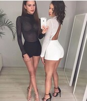 romper,white romper,black romper,see through,see through top,outfit,outfit idea,summer outfits,cute outfits,spring outfits,date outfit,party outfits,trendy,fashion,one piece,style,stylish,long sleeves,long sleeve romper,high heels,black heels,nude heels,strappy heels,heels,black high heels,cute high heels,nude high heels,shoes,black shoes,sexy shoes,summer shoes,cute shoes,party shoes,clubbing  shoes