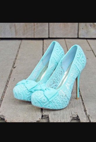 shoes mint blue crochet pumps bow