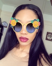 sunglasses,yellow,flowers,flower sunglasses,dope,fashion,style,cute,chic