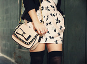 skirt,black,beige,birds,clothes,dress