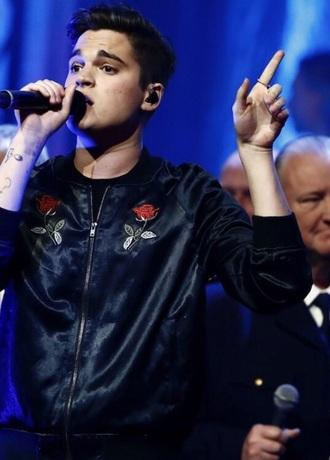 jacket black bomber jacket satin rose embroidered