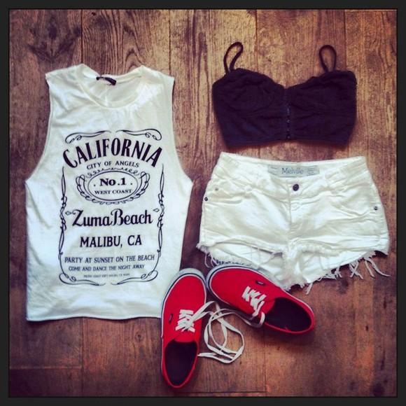 california blouse shirt jack daniel's t-shirt jack daniels print tank top california top tumblr white cute shoes vans top short california n.1, malibu, muscle shirt, white, black white california. muscle t-shirt