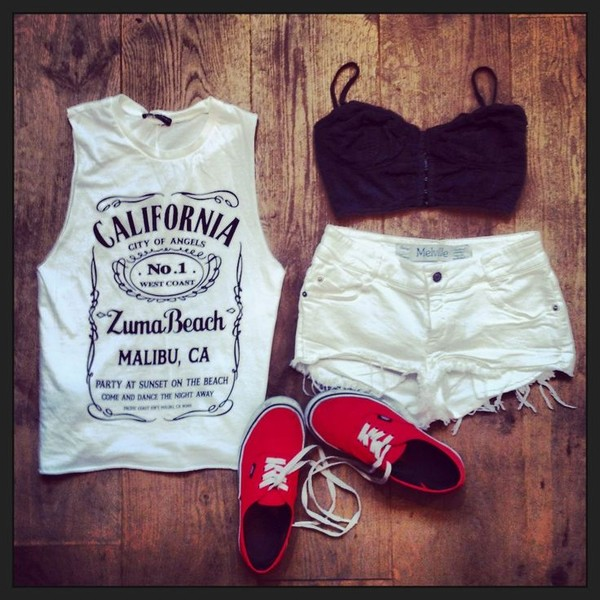 shirt california jack daniel's t-shirt jack daniel's tank top vans cut off shorts underwear blouse california top tumblr white cute top shoes shorts short california n.1 malibu muscle tee white california. muscle t-shirt white shirt jeans fashion red black smeakers casual t-shirt sleeveless crop tops outfit pretty denim muscle tee