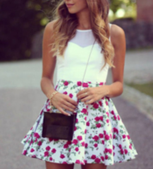 bag black bag dress floral bracelet roses white green