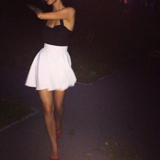 skirt white shirt black cro black crop top dress top