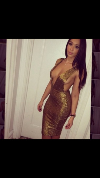 bronze dress gold dress metallic dress shimmery dress plunge v neck plunging neck line plunging midi dress bodycon dress bandage dress bandage bodycon dress side boob side split dress high waisted dress high waisted sexy sexy party dresses tumblr dress instagram tumblr sequin dress dress