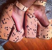 shoes,music notes,wedges,heels,platform shoes,high heels,pumps