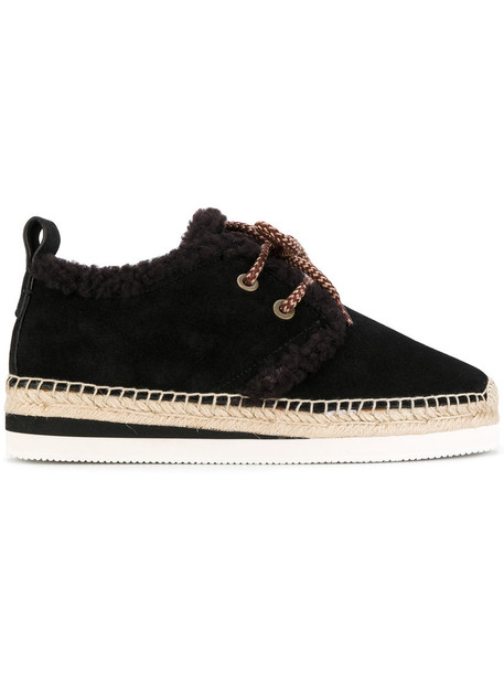 See by Chloe women espadrilles lace leather suede brown shoes