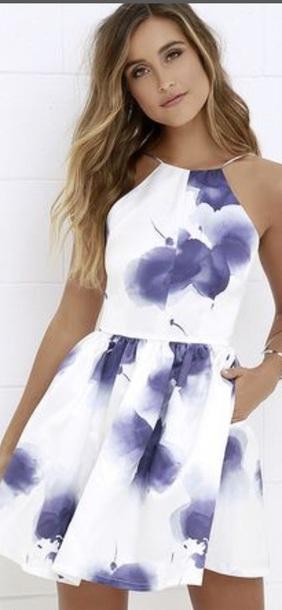 dress blue flowers floral dress graduation dress
