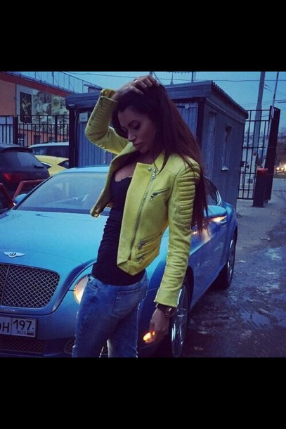 jacket yellow yellow coat leather jacket leather style fashion